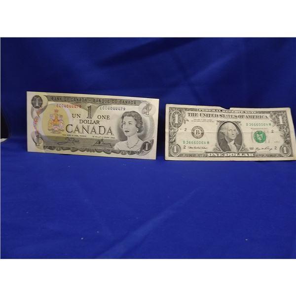 LOT OF 2 $1 BILLS. CNDN 1973 & US 2006