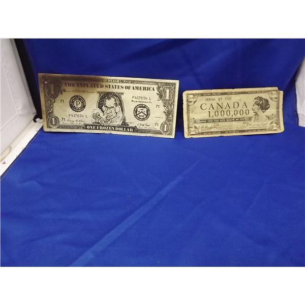 LOT OF 2 CNDN & US FUNNY MONEY BILLS. CNDN $1,000,000 & US $1