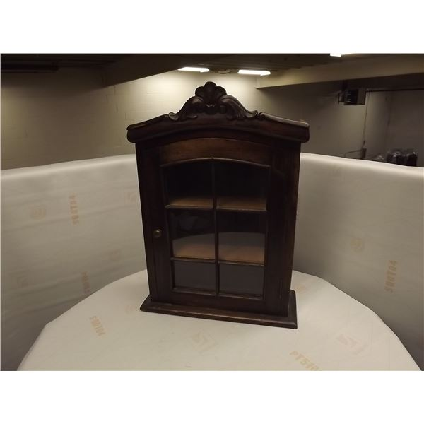 VINTAGE WALL MOUNT WOODEN DISPLAY CABINET