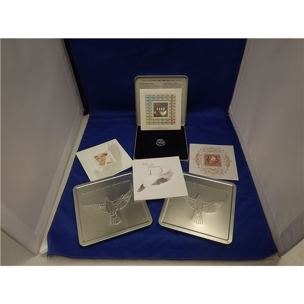 LOT OF 3 1999/2000 CNDN COMMEMORATIVE STAMP PACK - 3 STAMPS & 1 COIN