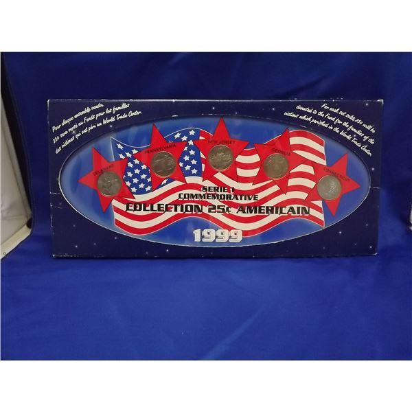 1999 SERIE 1 COMMEMORATIVE US 25 CENT 5 PC COIN SET