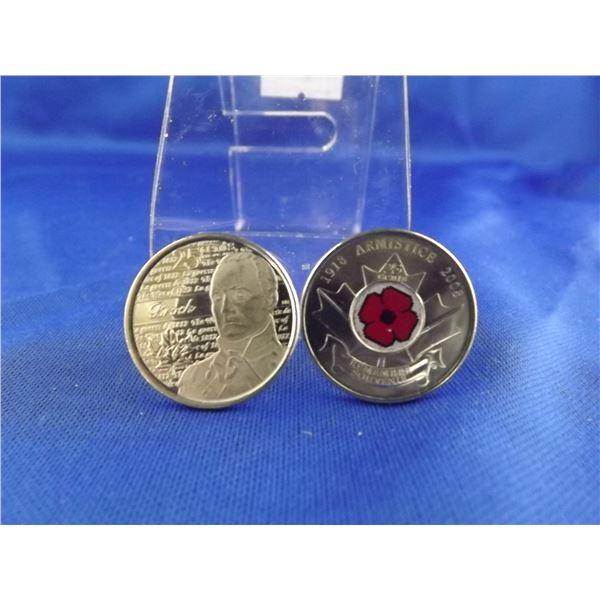 LOT OF 2 CNDN 25 CENT PIECES; 2012 BROCK & 2008 ARMISTICE