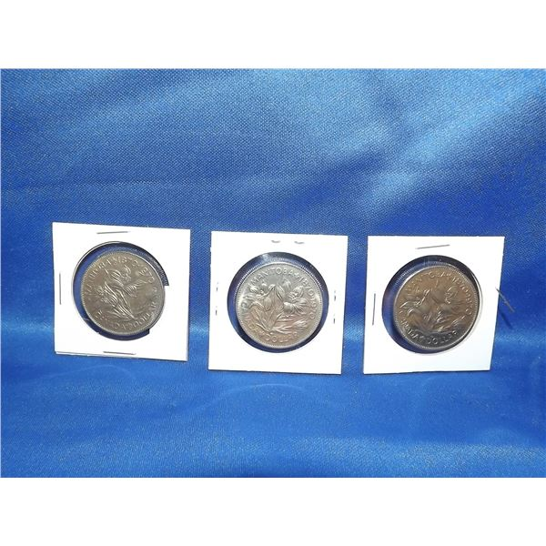 LOT OF 3 MANITOBA 1970 100YR CNDN $1 COINS