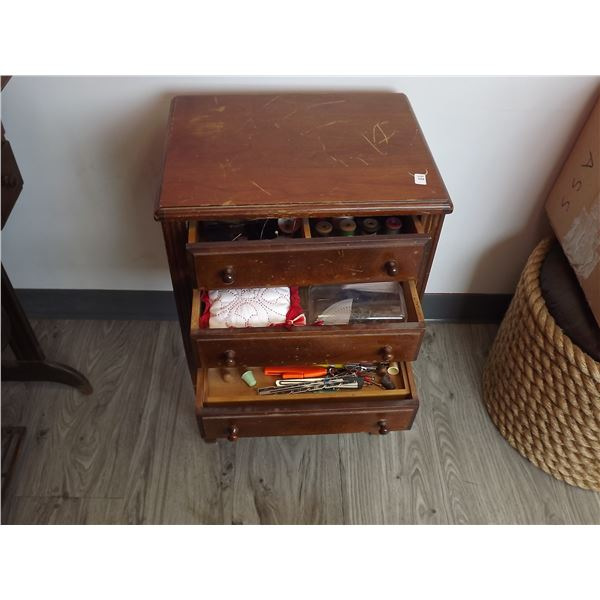 VINTAGE 3 DRAWER SEWING CABINET W/ CONTENTS