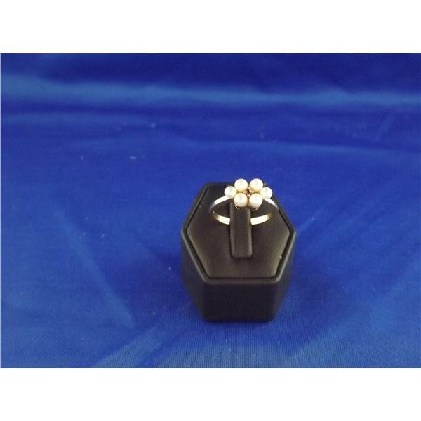 14KT YELLOW GOLD, PEARL & RUBY GEMSTONE RING- ARV $1100.00;