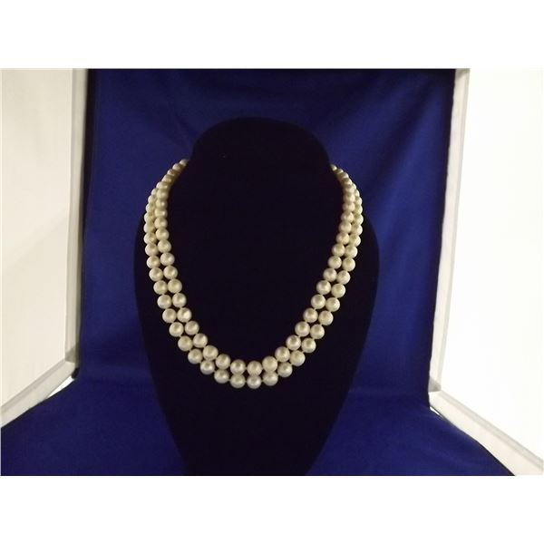 LADIES DOUBLE STRAND CULTURED PEARL NECKLACE- ARV $400.00;
