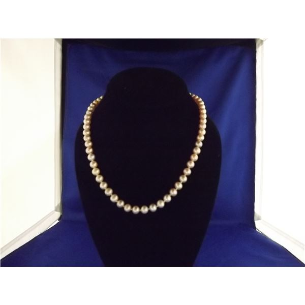LADIES ONE STRAND CULTURED PEARL NECKLACE- ARV $375.00; PEARLS-