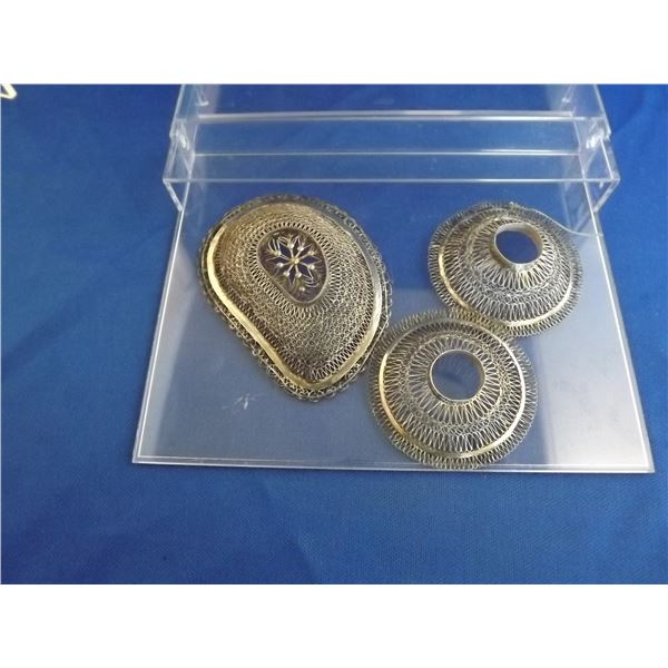 LOT OF 3 PIECES OF SILVER FILIGREE PIECES