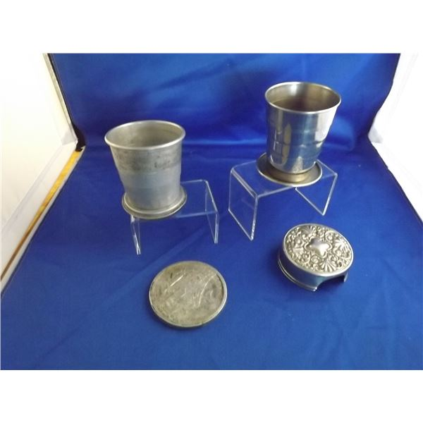 LOT OF 2 STAMPED LID MILITARY STYLE COLLAPSABLE CUPS;