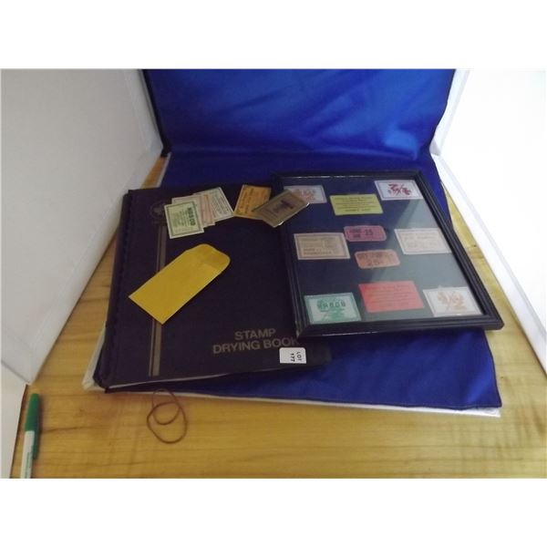 LOT OF ASSORTED EMPTY STAMP BINDERS, DRYING BOOKS & FRAMED TICKETS