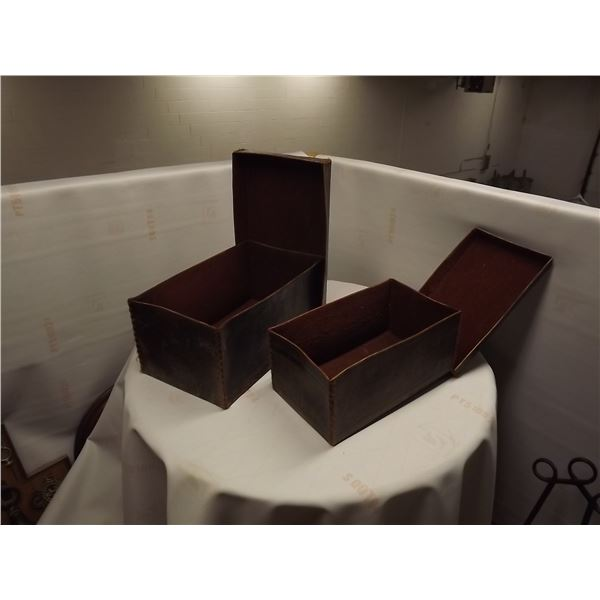 LOT OF 2 VINTAGE LEATHER STORAGE BOXES