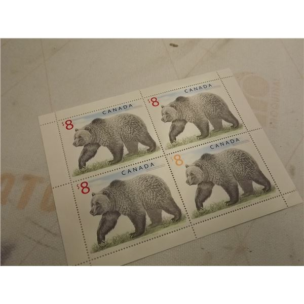 PLATE BLOCK OF 4 CANADIAN 8$ STAMPS GRIZZLY BEAR