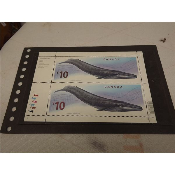 CANADIAN BLUE WHALE 10$ STAMPS SHEET OF 2