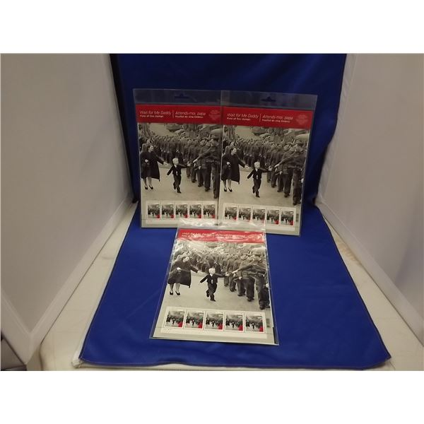 3 SETS OF WAIT FOR ME DADDY PANE OF 5 P STAMP BOOKLETS