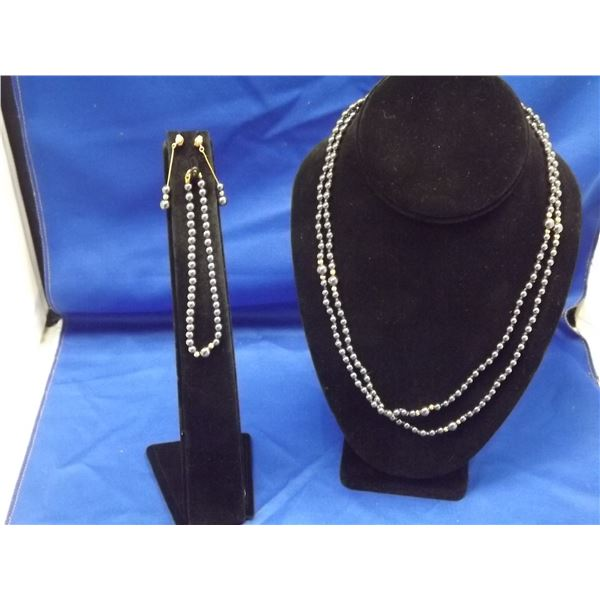 3 PIECE SET - BLACK PEARL HIGH POLISH WITH GOLD BEADS - NECKLACE, EARRINGS AND BRACELET