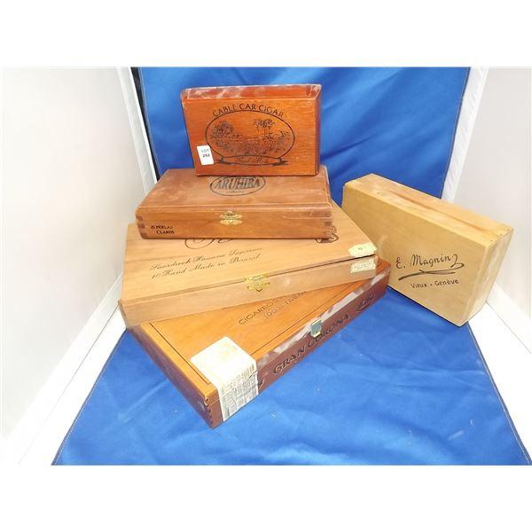 5 CIGAR WOODEN BOXES, VINTAGE