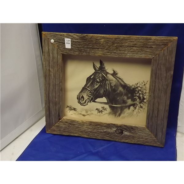 1 HORSE PICTURE IN RUSTIC BARNWOOD  FRAME