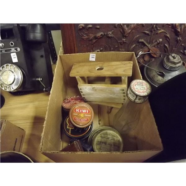 1 BOX OF TINS, BOTTLE  AND BUTTER STAMP