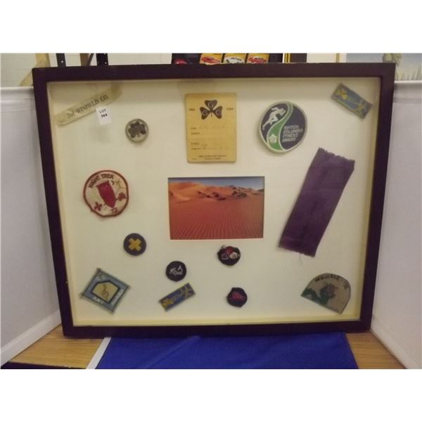 1 SHADOW BOX OF GIRL GUIDE BADGES AND AWARDS