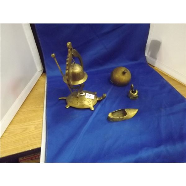 2 BRASS SERVICE BELLS AND BRASS PERSONAL ASHTRAYS