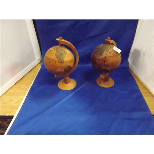 2 WOODEN PUZZLE GLOBES ON STAND