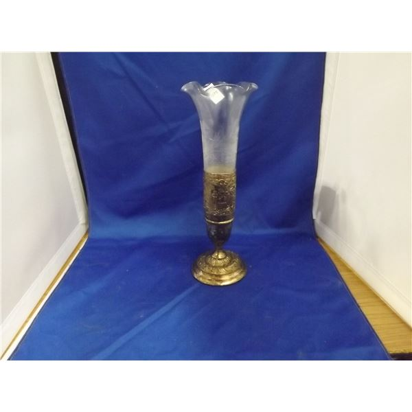 SIVLER PLATEDVASE WITH  ETCHED GLASS