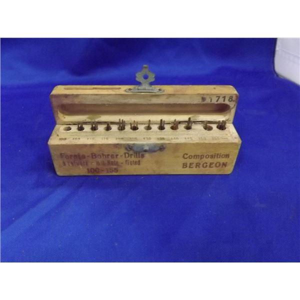 MINAYURE WOODEN BOX FORETS BOHRER DRILL BITS # 100 TO 155