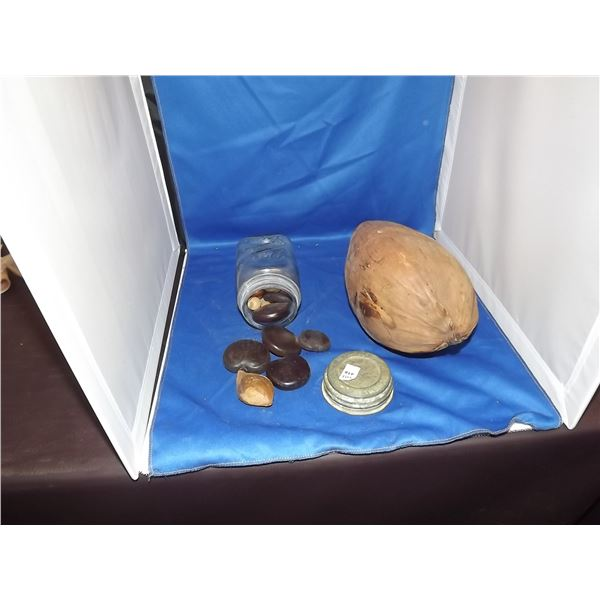 1 VINTAGE DREY SQUARE JAR FULL OF SEEDS, WITH 1 LARGE PALM TREE SEED