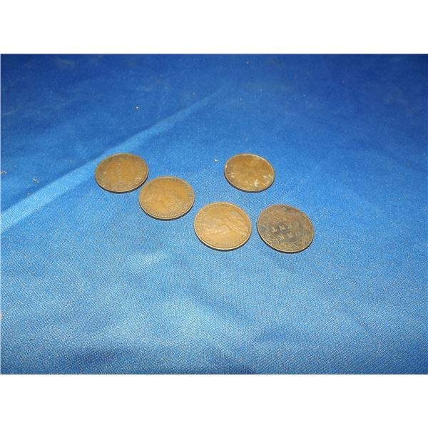 CANADIAN LARGE PENNIES LOT OF 5