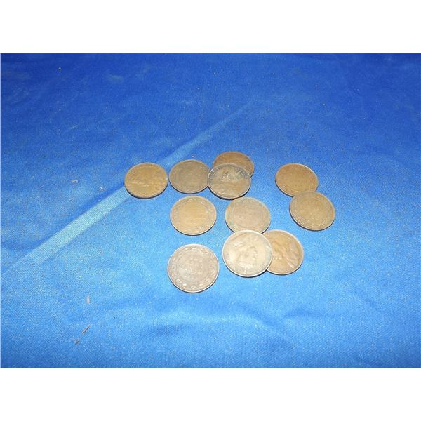 CANADIAN LARGE PENNIES LOT OF 11