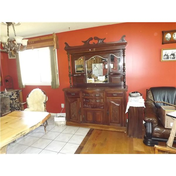 ANTIQUE SCOTTISH BUFFEE WITH 3 BELELVED MIRROR