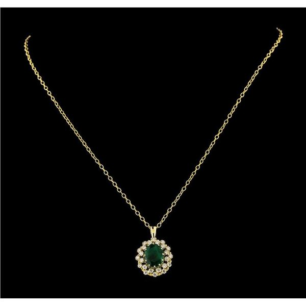 4.30 ctw Emerald and Diamond Pendant With Chain - 14KT Yellow Gold