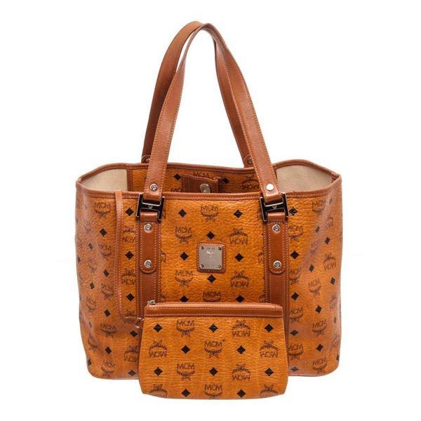 MCM Cognac Large Shopper Tote Bag
