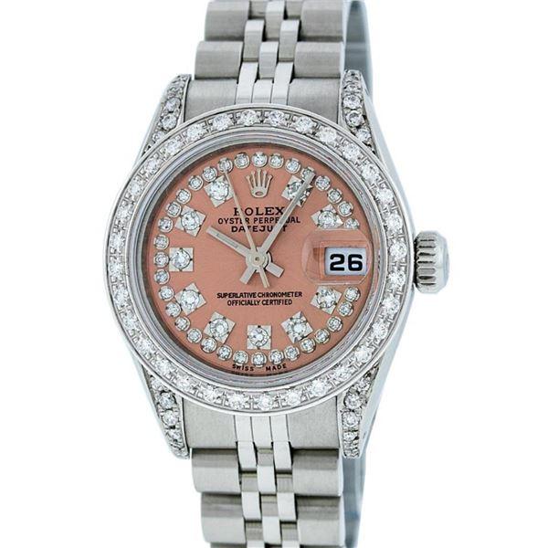 Rolex Ladies Stainless Steel Salmon Diamond 26 Datejust Wristwatch Serviced