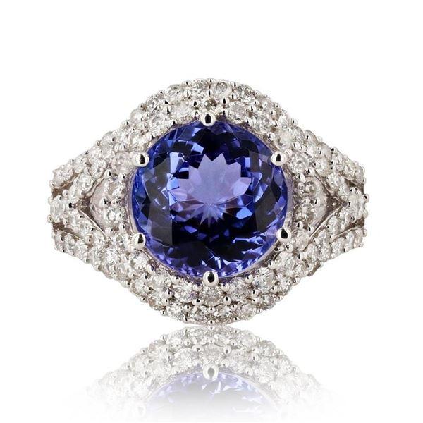 4.18 ctw Tanzanite and 1.07 ctw Diamond 14K White Gold Ring