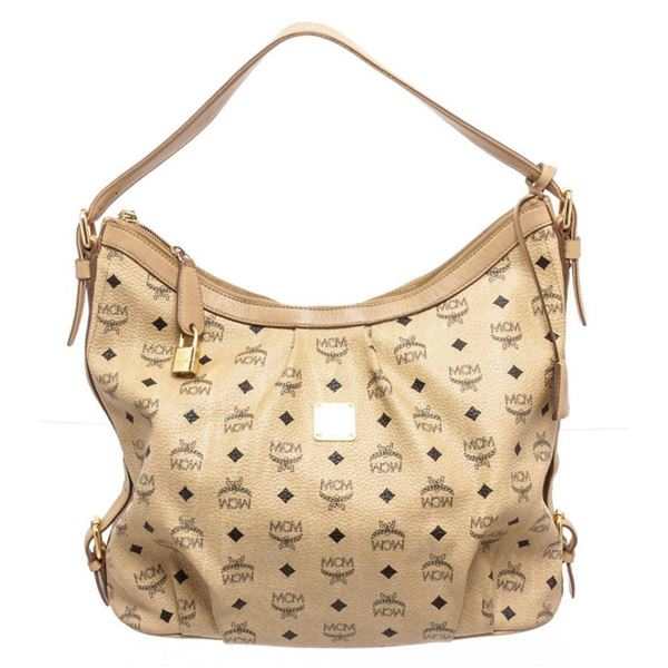 MCM Beige Leather Hobo Bag