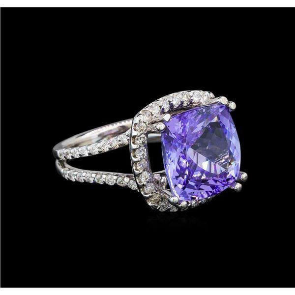 14KT White Gold 9.07 ctw Tanzanite and Diamond Ring