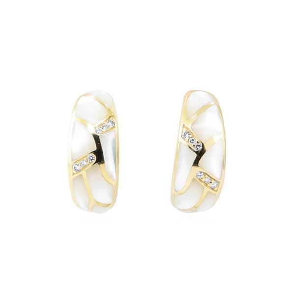 Kabana 0.25 ctw Diamond and Inlaid Mother of Pearl Earrings - 14KT Yellow Gold