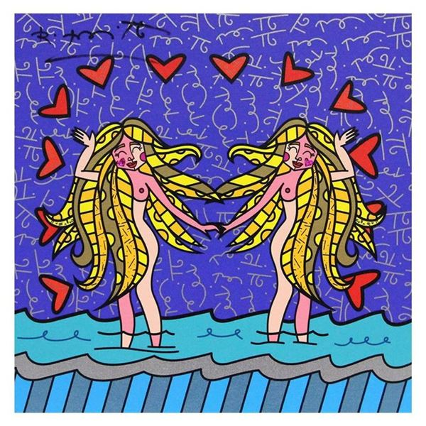 """Britto, """"Gemini Girls (White)"""" Hand Signed Limited Edition Giclee on Canvas; Aut"""