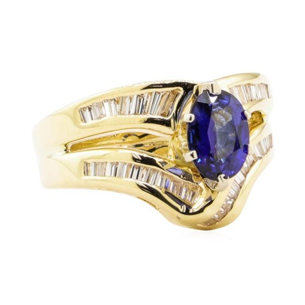 2.28 ctw Blue Sapphire And Diamond Ring And Attached Band - 14KT Yellow Gold