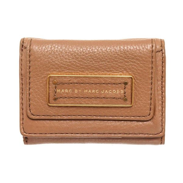 Marc By Marc Jacobs Brown Leather Mini Compact Flap Wallet