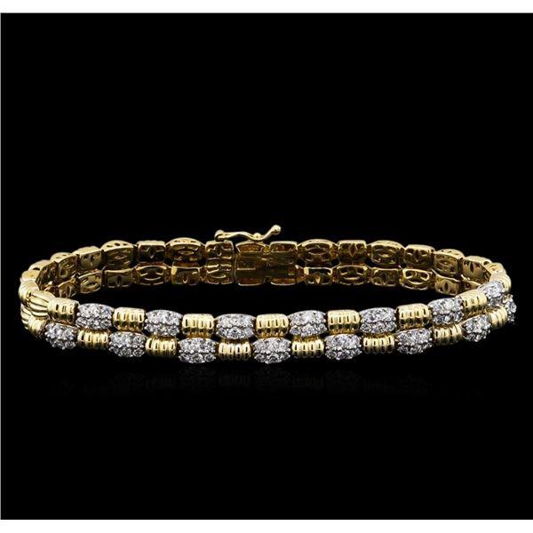 1.94 ctw Diamond Bracelet - 14KT Two-Tone Gold