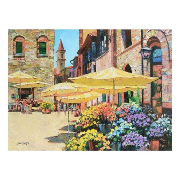 """Howard Behrens (1933-2014), """"Siena Flower Market"""" Limited Edition on Canvas, Num"""