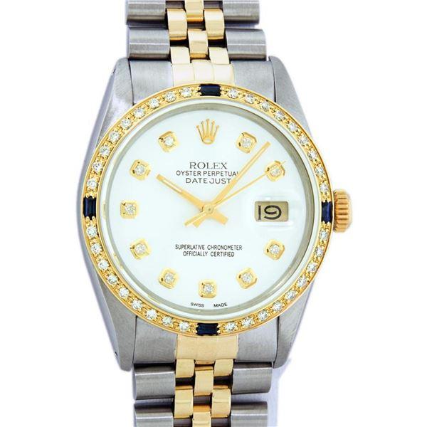 Rolex Mens 2 Tone White Diamond & Sapphire Datejust Wristwatch