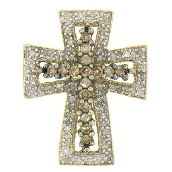 14k Two Tone Gold 1.00 ctw Champagne & White Diamond Petite Cross Slide Pendant