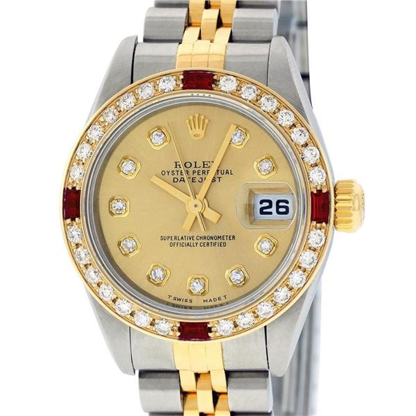 Rolex Ladies 2 Tone 18K YG/SS Quickset Champagne Diamond & Ruby Oyster Perpetual