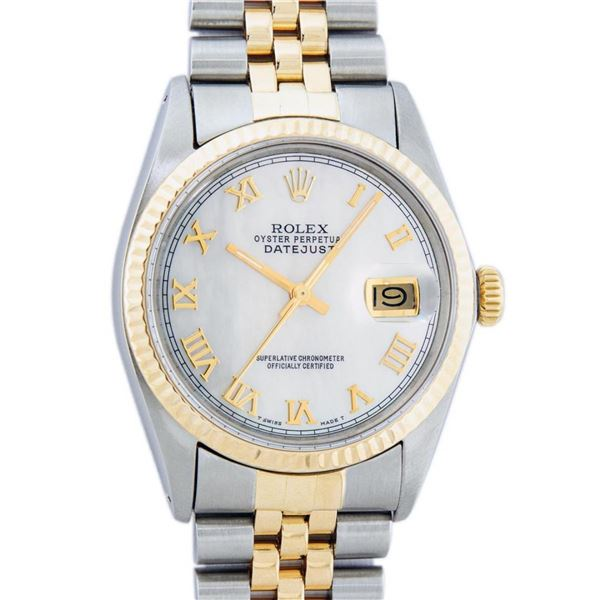 Rolex Mens 2 Tone Mother Of Pearl Roman Datejust Wristwatch