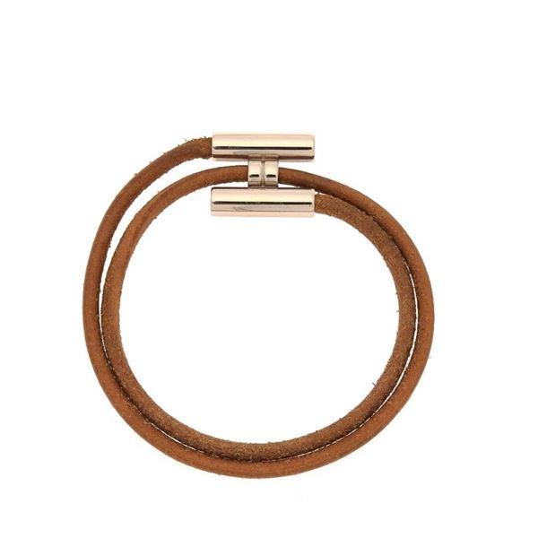 Hermes Brown Tournis 1 Wrap Bracelet