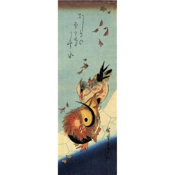 Hiroshige Mandarin Duck on a Frozen Pond
