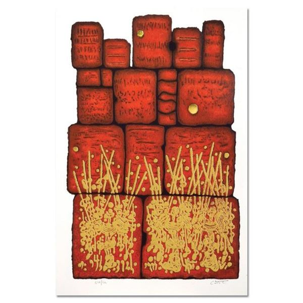 """Moshe Castel, """"Prayer at the Wall"""" Limited Edition Gold Embossed Serigraph with"""